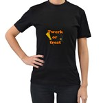 Twerk or treat - Funny Halloween design Women s T-Shirt (Black) (Two Sided)