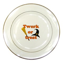 Twerk Or Treat   Funny Halloween Design Porcelain Plates
