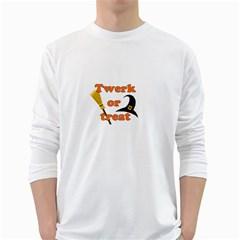 Twerk Or Treat   Funny Halloween Design White Long Sleeve T Shirts by Valentinaart