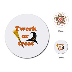Twerk Or Treat   Funny Halloween Design Playing Cards (round)  by Valentinaart