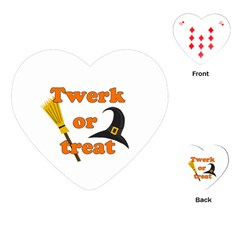 Twerk Or Treat   Funny Halloween Design Playing Cards (heart)  by Valentinaart