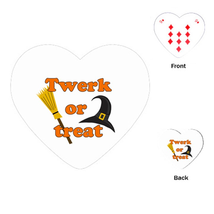 Twerk or treat - Funny Halloween design Playing Cards (Heart)