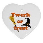 Twerk or treat - Funny Halloween design Heart Ornament (2 Sides)