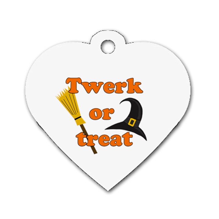 Twerk or treat - Funny Halloween design Dog Tag Heart (One Side)
