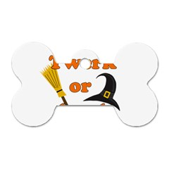 Twerk Or Treat   Funny Halloween Design Dog Tag Bone (two Sides)