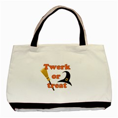 Twerk Or Treat   Funny Halloween Design Basic Tote Bag (two Sides) by Valentinaart