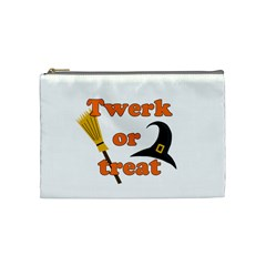 Twerk Or Treat   Funny Halloween Design Cosmetic Bag (medium)  by Valentinaart