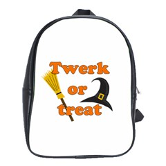 Twerk Or Treat   Funny Halloween Design School Bags(large)  by Valentinaart