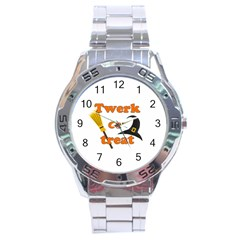 Twerk Or Treat   Funny Halloween Design Stainless Steel Analogue Watch by Valentinaart