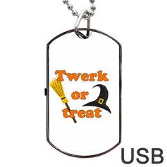 Twerk Or Treat   Funny Halloween Design Dog Tag Usb Flash (one Side) by Valentinaart