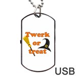 Twerk or treat - Funny Halloween design Dog Tag USB Flash (Two Sides)