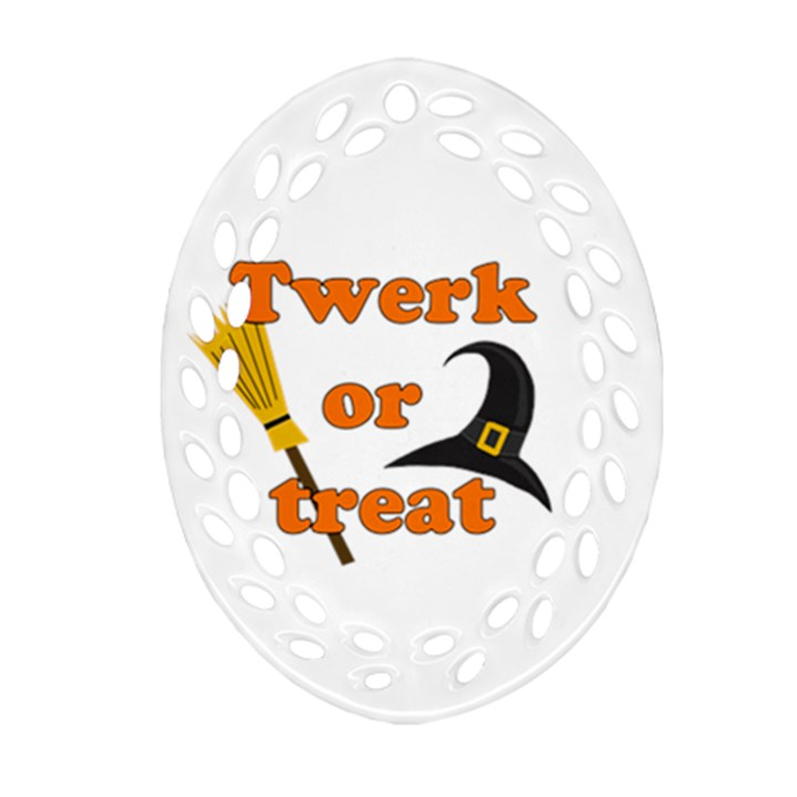 Twerk or treat - Funny Halloween design Ornament (Oval Filigree)