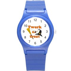Twerk Or Treat   Funny Halloween Design Round Plastic Sport Watch (s) by Valentinaart