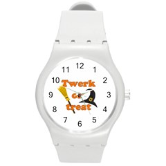 Twerk Or Treat   Funny Halloween Design Round Plastic Sport Watch (m) by Valentinaart