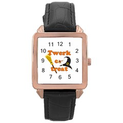 Twerk Or Treat   Funny Halloween Design Rose Gold Leather Watch  by Valentinaart