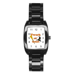 Twerk Or Treat   Funny Halloween Design Stainless Steel Barrel Watch by Valentinaart