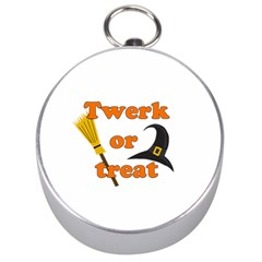 Twerk Or Treat   Funny Halloween Design Silver Compasses by Valentinaart