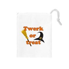Twerk Or Treat   Funny Halloween Design Drawstring Pouches (medium)  by Valentinaart