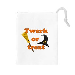 Twerk Or Treat   Funny Halloween Design Drawstring Pouches (large)  by Valentinaart