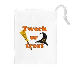 Twerk Or Treat   Funny Halloween Design Drawstring Pouches (extra Large) by Valentinaart