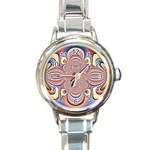 Pastel Shades Ornamental Flower Round Italian Charm Watch