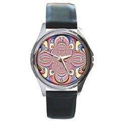 Pastel Shades Ornamental Flower Round Metal Watch by designworld65