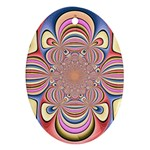 Pastel Shades Ornamental Flower Ornament (Oval)