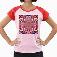 Pastel Shades Ornamental Flower Women s Cap Sleeve T Shirt