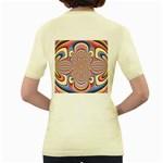 Pastel Shades Ornamental Flower Women s Yellow T-Shirt Back