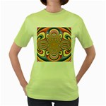 Pastel Shades Ornamental Flower Women s Green T-Shirt