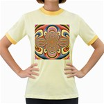 Pastel Shades Ornamental Flower Women s Fitted Ringer T-Shirts