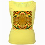 Pastel Shades Ornamental Flower Women s Yellow Tank Top