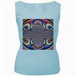 Pastel Shades Ornamental Flower Women s Baby Blue Tank Top