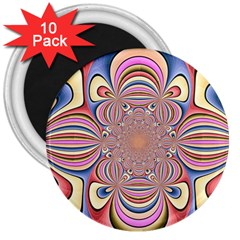 Pastel Shades Ornamental Flower 3  Magnets (10 Pack)  by designworld65