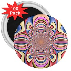 Pastel Shades Ornamental Flower 3  Magnets (100 Pack) by designworld65