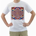Pastel Shades Ornamental Flower Men s T-Shirt (White) (Two Sided) Front