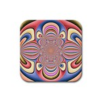 Pastel Shades Ornamental Flower Rubber Coaster (Square)