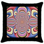 Pastel Shades Ornamental Flower Throw Pillow Case (Black)