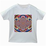 Pastel Shades Ornamental Flower Kids White T-Shirts