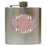 Pastel Shades Ornamental Flower Hip Flask (6 oz)