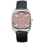 Pastel Shades Ornamental Flower Square Metal Watch Front