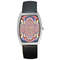 Pastel Shades Ornamental Flower Barrel Style Metal Watch