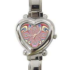 Pastel Shades Ornamental Flower Heart Italian Charm Watch by designworld65