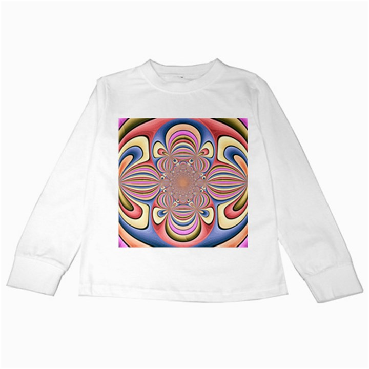 Pastel Shades Ornamental Flower Kids Long Sleeve T-Shirts
