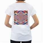 Pastel Shades Ornamental Flower Women s Loose-Fit T-Shirt (White) Back