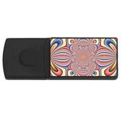 Pastel Shades Ornamental Flower USB Flash Drive Rectangular (4 GB)