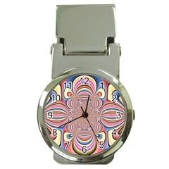 Pastel Shades Ornamental Flower Money Clip Watches