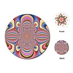 Pastel Shades Ornamental Flower Playing Cards (round)