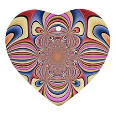 Pastel Shades Ornamental Flower Heart Ornament (2 Sides)