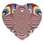 Pastel Shades Ornamental Flower Heart Ornament (2 Sides) Front
